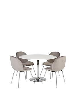Very Trumpet 116.5 Cm Dining Table + 4 Penny Velvet Chairs Picture