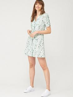 v-by-very-button-front-mini-tea-dress-green-floral