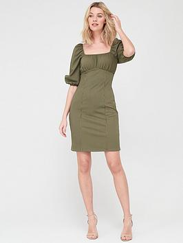 V by Very V By Very Puff Sleeve Jacquard Dress - Khaki Picture