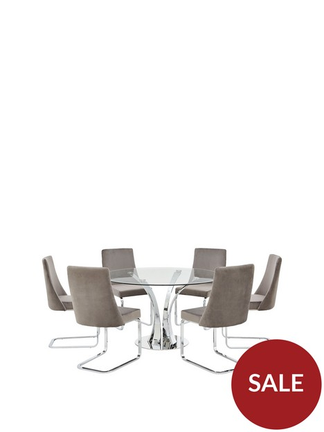 alice-130-cm-round-dining-table-6-velvet-chairs-cleargrey