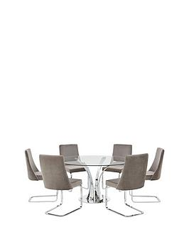 Very  Alice 130 Cm Round Dining Table + 6 Velvet Chairs - Clear/Grey