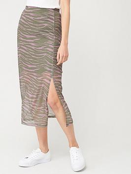 V by Very V By Very Mesh Midi Skirt - Zebra Print Picture