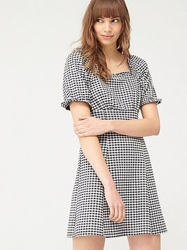 V by Very V By Very Puff Sleeve Mini Dress - Gingham Picture