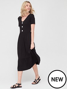 v-by-very-button-front-midi-dress-blacknbsp
