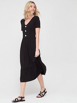 V by Very V By Very Button Front Midi Dress - Black Picture