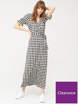 v-by-very-jacquard-fixed-wrap-puff-sleeve-midaxi-dress-gingham