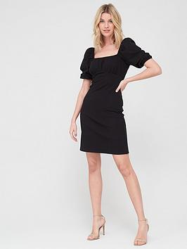 V by Very V By Very Puff Sleeve Jacquard Dress - Black Picture