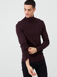 river-island-grey-roll-neck-muscle-fit-ribbed-jumper