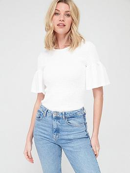 V by Very V By Very Frill Sleeve Shirred Top - White Picture