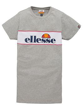 ellesse-older-girls-lizzi-short-sleeve-t-shirt-dress-grey