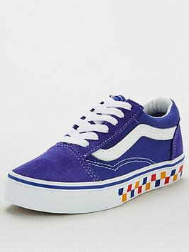 Vans Vans Childrens Old Skool Checkerboard - Blue/White Picture