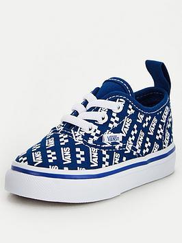 Vans Vans Authentic Elastic Lace Logo Repeat Toddler Plimsolls - Blue/White Picture
