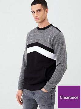river-island-black-herringbone-blocked-slim-fit-sweatshirt