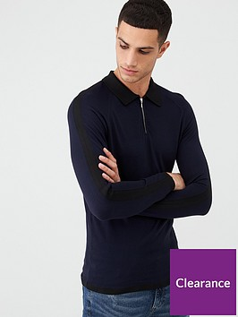 river-island-navy-long-sleeve-slim-fit-knitted-polo-shirt
