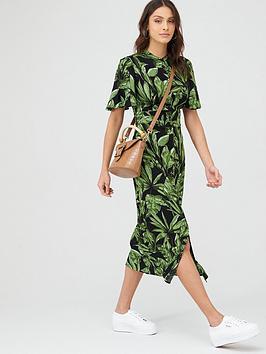 V by Very V By Very Angel Sleeve Midi Shirt Dress - Black Botanical Picture