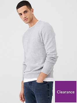 river-island-grey-marl-slim-fit-zip-neck-jumper
