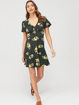 V by Very V By Very Crepe Short Sleeved Midi Dress - Print Picture