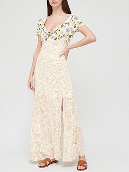 v-by-very-sleeve-detail-crepe-maxi-dress-spot-print