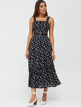 V by Very V By Very Belted Asymmetric Seam Midaxi Dress - Print Picture