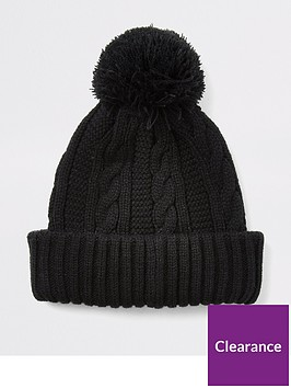 river-island-black-cable-knitted-bobble-beanie-hat