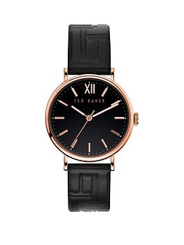 Ted Baker Ted Baker Ted Baker Black And Rose Gold Detail Dial Black  ... Picture