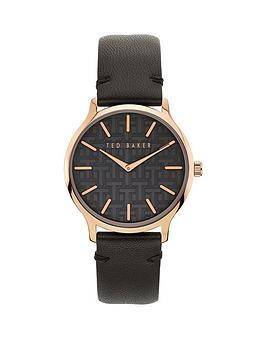 Ted Baker Ted Baker Ted Baker Black And Rose Gold Case Dial Black Leather  ... Picture