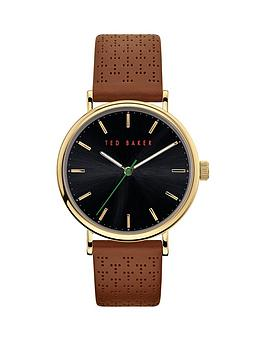 Ted Baker Ted Baker Ted Baker Blue Dial Brown Leather Strap Watch Picture