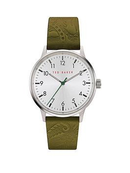 Ted Baker Ted Baker Ted Baker Cream Dial Green Leather Logo Embossed Strap  ... Picture