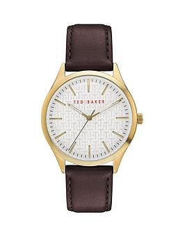 Ted Baker Ted Baker Ted Baker Silver Sunray And Gold Detail Dial Brown  ... Picture