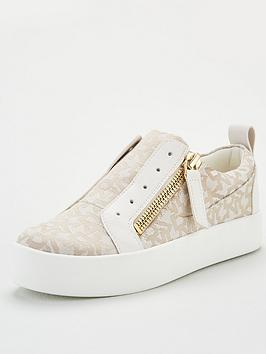 DKNY Dkny Bradi All Over Logo Platform Slip On Trainers - Cream Picture