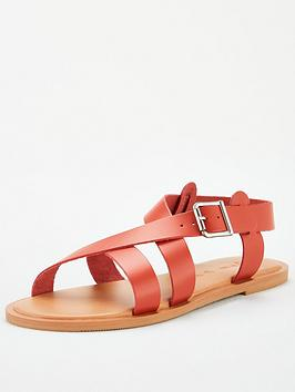 V by Very V By Very Humbug Leather Strappy Sandals - Rust Picture