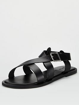 V by Very V By Very Humbug Leather Strappy Sandals - Black Picture