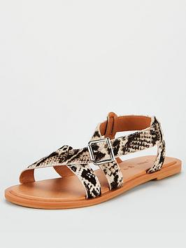 V by Very V By Very Humbug Leather Strappy Sandals - Snake Picture