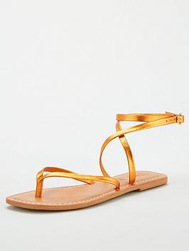 V by Very V By Very Baker Leather Barely There Flat Sandals - Orange Picture