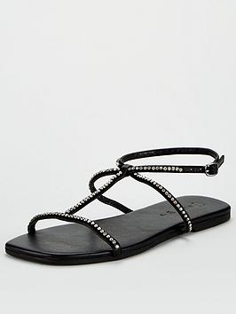 V by Very V By Very Hilton Leather Square Toe Diamante Flat Sandals - Black Picture