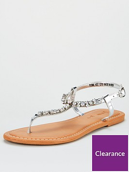 v-by-very-harlem-leather-diamante-toe-post-sandals-silver
