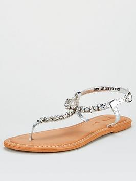 V by Very V By Very Harlem Leather Diamante Toe Post Sandals - Silver Picture