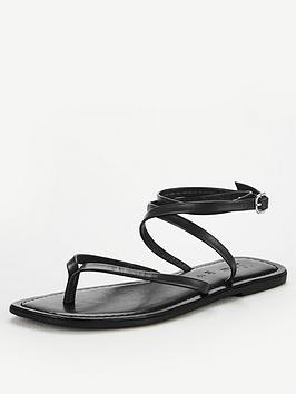 V by Very V By Very Baker Leather Barely There Flat Sandals - Black Picture