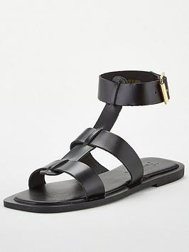 V by Very V By Very Heron Leather Wide Fit Square Toe Gladiator Sandals -  ... Picture