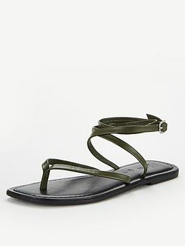 V by Very V By Very Baker Leather Barely There Flat Sandals - Khaki Picture