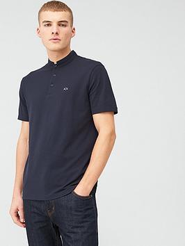 Armani Exchange Armani Exchange Granddad Collar Polo Shirt - Navy Picture