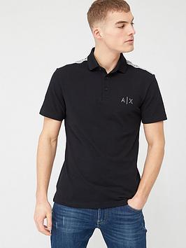 Armani Exchange Armani Exchange Reflective Sleeve Panel Logo Polo Shirt -  ... Picture