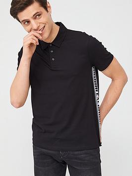 Armani Exchange Armani Exchange Taping Detail Polo Shirt - Black Picture