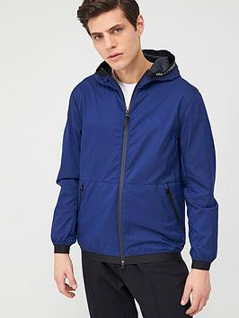 Armani Exchange   Transparent Logo Hooded Jacket - Blue