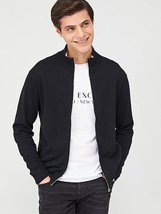 armani-exchange-knitted-zip-through-jumper-black