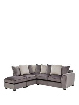 Very Odion Fabric Left Hand Corner Chaise Scatter Back Sofa With Footstool Picture