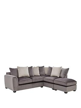 Very Odion Fabric Right Hand Corner Chaise Scatter Back Sofa With Footstool Picture