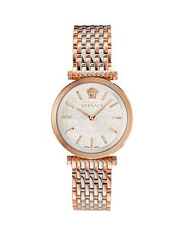 Versace Versace Twist Mother Of Pearl And Rose Gold Detail Dial Two Tone Stainless Steel Bracelet Ladies Watch