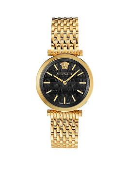 Versace Versace Twist Black Sunray Dial Gold Stainless Steel Bracelet Ladies Watch