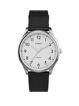 timex-timex-white-and-silver-detail-32mm-dial-black-leather-strap-watch